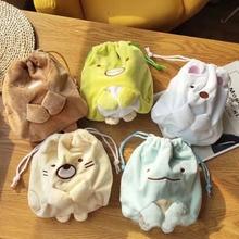 1 Pcs Cute Japanese Anime Sumikko Gurashi Corner Bio Creature Drawstring Bags Bundle Pocket Plush Coin Purse Soft Storage Bag