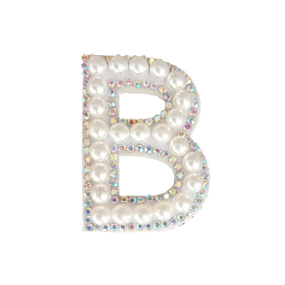 Handmade Letter Cloth Stickers Patches On Clothes Applique Patches Pearl Without Gold Rhinestone Glue Letter N8L8