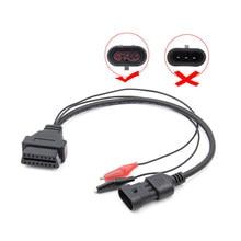 Novo para alfa lancia fiat 3 pinos para 16 pinos obdii obd2 obd-ii conector adaptador cabo de carro automático obd para fiat 3pin cabo de diagnóstico