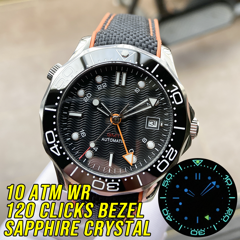 High Quality 10ATM Water Resistant GMT Black Wave Dial Automatic Men's Watch Sapphire Crystal Sea Master DIVER 300M Luminous