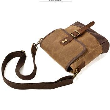 SCIONE Men Oil Wax Canvas Leather Crossbody Bag Men Military Army Vintage Messenger Bags Shoulder Bag Casual Travel Bags 3