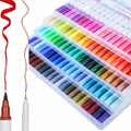 12/24/36/48/72/100 Kleur Twin Marker Bullet Journal Pennen Dubbele Tip Hoofd marker Aquarel Pen Tekening Kleuren Borstel Pen Sets