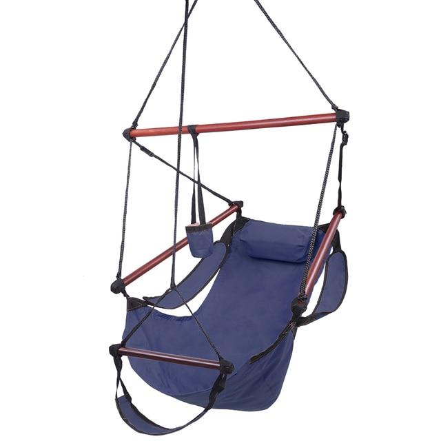 Blue Portable Hammock Rope Chair Kakorai Fully Equipped S-Hook High Strength Assembled Hammock Seat Hammock-US Stock 2