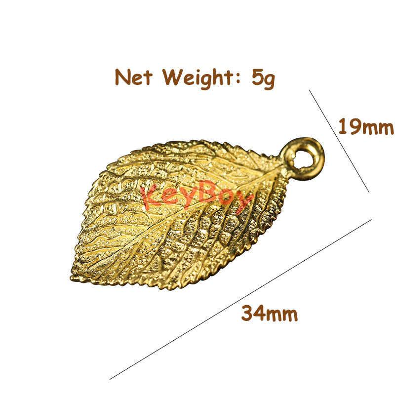 Tembaga Daun Pohon Hiasan Emas Kuningan Lucky Daun Gantungan Kunci Liontin untuk DIY Gantungan Kunci Buatan Tangan Gantungan Kunci Perhiasan Aksesoris