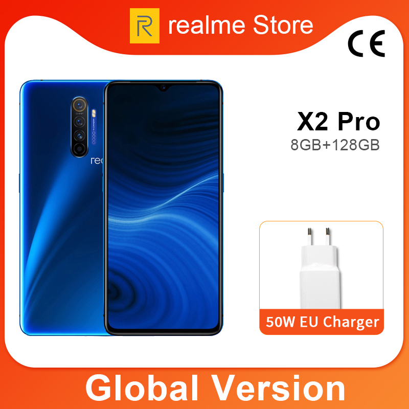 Global Version Realme X2 Pro X 2 8GB 128GB  Moblie Phone Snapdragon 855 Plus 64MP Quad Camera NFC Cellphone 50W Fast Charger