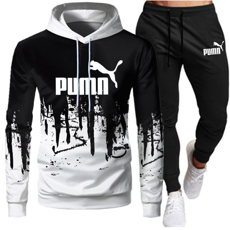 Tracksuit Men Sets Winter Hoodies Pants 2 Piece Set 2021 Running Hoody Mens Brand Sweatshirt Sport Joggers Sweatpants Suit Male