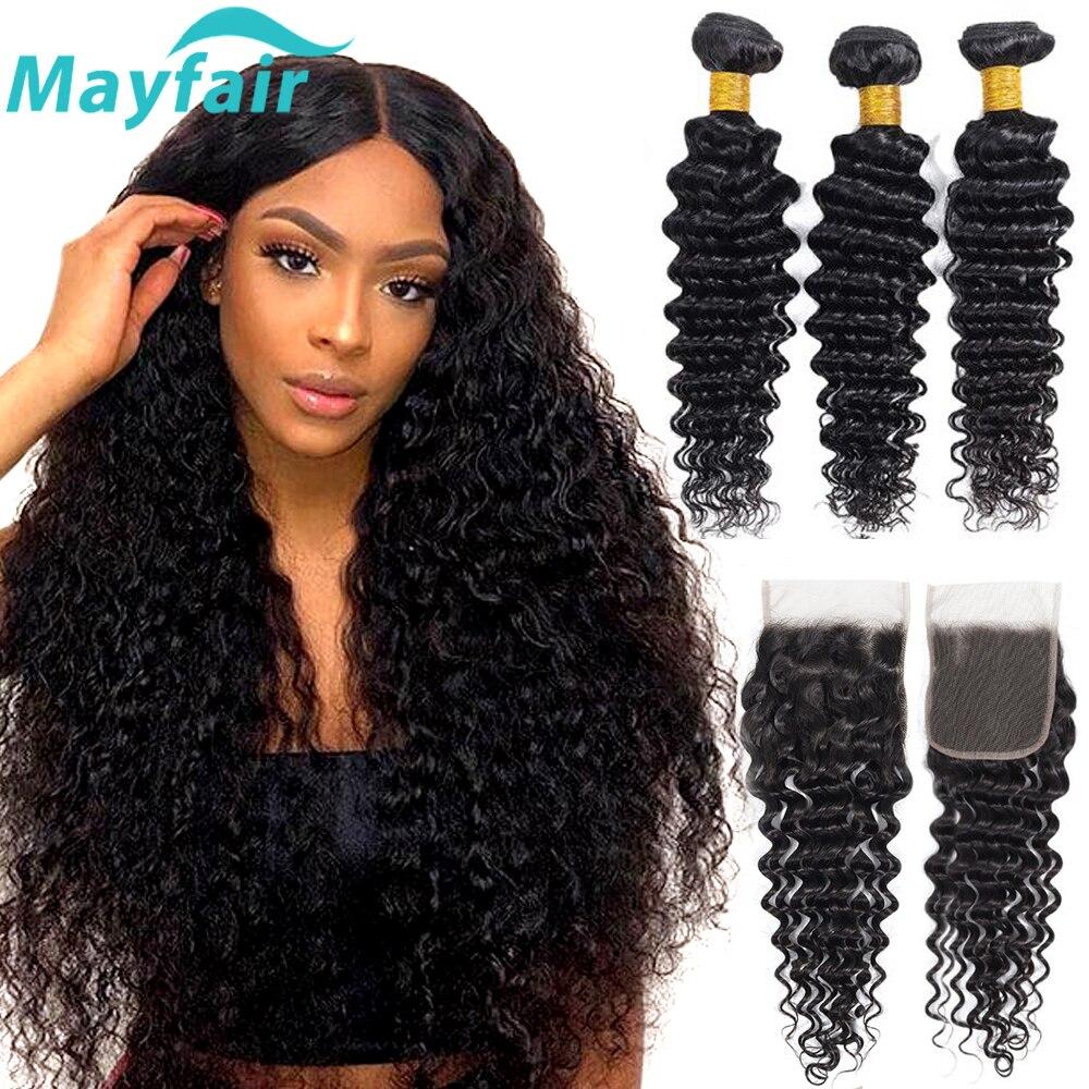 Brazilian Deep Wave Bundles With Closure Brazilian Hair Weave Bundles With Closure Non Remy Human Hair Bundles With Closure