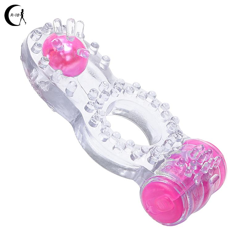 Penis Cock Ring Vibrator Silikon Dual Vergnügen Clit Stimulator Sex Spielzeug für Männer Männliche Erwachsene Produkte Länger Ejakulation