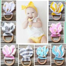 Cute Cartoon Rabbit Ear Shape Teether Wood Teething Ring for Baby Infant