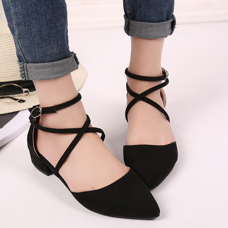 2020 Spring Summer Office Ladies Low Square Heels Pumps Cross Ankle Strap Gladiator Shoes Woman Casual Sandals Plus Size M8-34