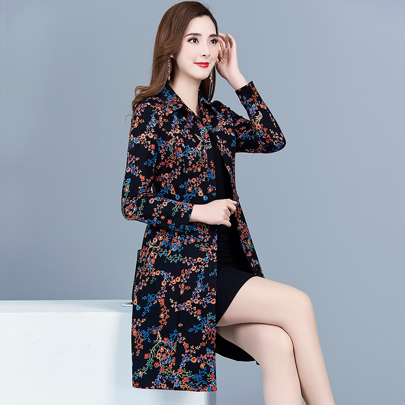 Spring Fall Vintage Womens Clothes Overcoat , Slim Floral Pattern Print Long Sleeve Trench Coat , 5xl Polka Dot Coats for Women