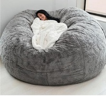 Bed-Coat Bean-Bag-Cover Furniture Lazy-Sofa Faux-Fur Round Living-Room Fluffy Giant 7ft