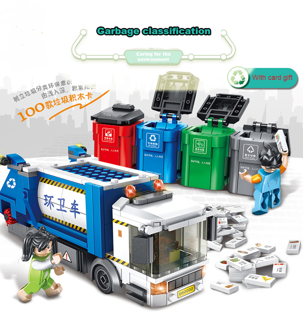 New 432Pcs City Garbage Classification Truck Car Building Blocks Bricks Toy