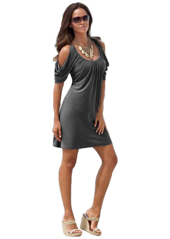 <font><b>EBay</b></font> 2019 Spring And Summer-Crew Neck Raglan Sleeve Short Sleeve Dress image