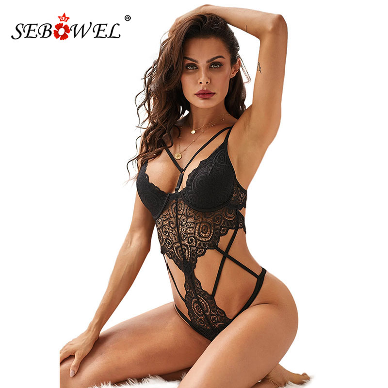 SEBOWEL 2019 Woman's Black Push Up Lace Bodysuit Lingerie Sexy Hollow Out Female Body Tops Clothes Ladies Lingeries With Cups