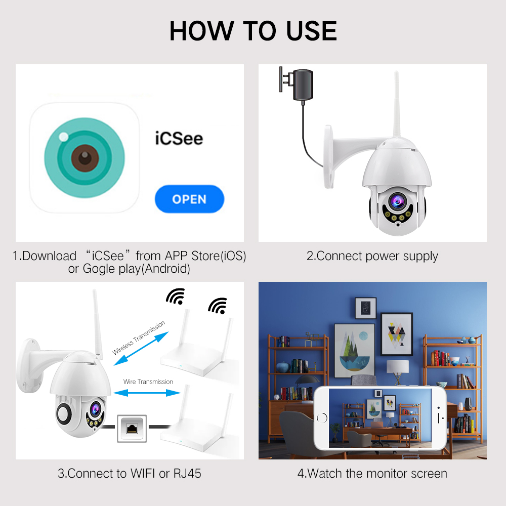 Image 5 - Full Colour 1080P WIFI Camera PTZ IP Camera Speed Dome CCTV Security Cameras Exterior 2MP IR Home Surveillance-in Surveillance Cameras from Security & Protection