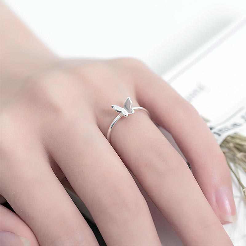 Bague Ringen เงิน 925 เปิดแหวนผู้หญิง siliver ผีเสื้อรูปร่างนิ้วมือแหวนเครื่องประดับขายส่งของขวัญเครื่องประดับขายส่ง