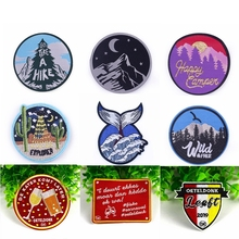 Pulaqi Scenery Embroidered Patches For Clothing Iron On Patch On Clothes Stripes Outdoor Snow mountain Patch Ironing Badges DIY with rhinestones star skeleton iron on patches stripes for clothes diy embroidered patch applique badges clothing t shirt crafts