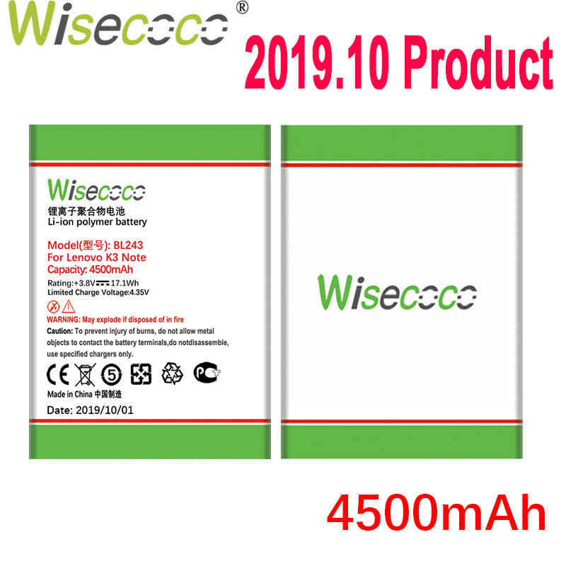 WISECOCO 4500mAh BL243 Battery For Lenovo K3 Note K50-T5 K50-T3S A7000 A5500 A5860 A5600 A7600 Mobile Phone+Tracking Number image