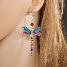 Fashion Rhinestone Dragonfly Earring Crystal Statement Cubic Zirconia Earring gold For Women Jewelry Dangle Earrings ER200052 korean christmas gifts crystal cherry drop earrings for women rhinestone cubic zirconia dangle earrings kolczyki fashion jewelry