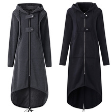 2019 New Autumn Fashion long-sleeve black hooded trench coat autumn zipper overcoat long section clothes