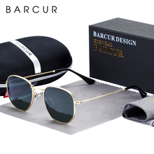 BARCUR Classic Retro Reflective Sunglasses Man Hexagon Sunglasses