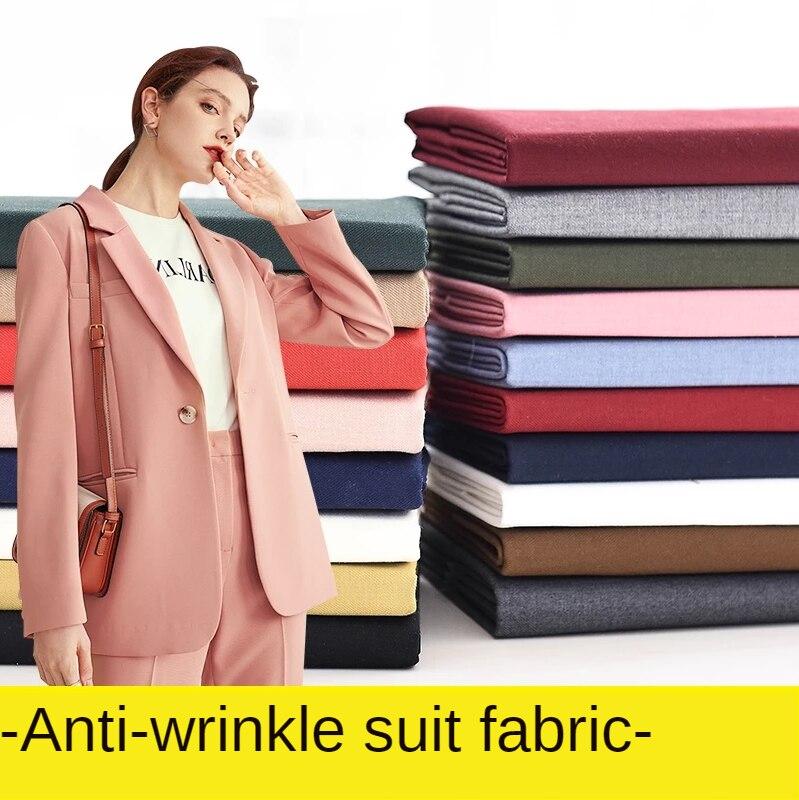 Schwarz Stoff Anti-falten Einfarbig Anzug Einheitliche Stoffe Mode Hosen Kleid Nähen Weiß Blau Rosa Brokat Blending Polyester