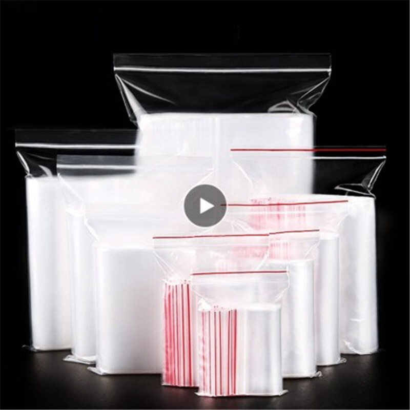 Zip Lock Ziplock Bags 100pcs Clear Food Storage Package Small Jewelry Packing Reclosable Vacuum Storage Bag Thick Dropshipping