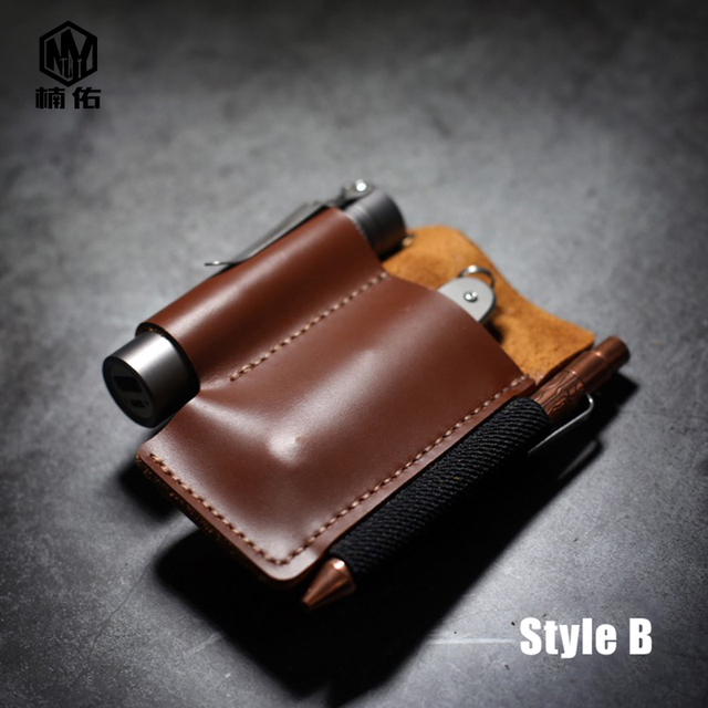 1PC  Portable EDC Multifunction Universal Knife Pen Leather Storage Leather Bag Knife Cover Scabbard Waist Clip Outdoor Tool