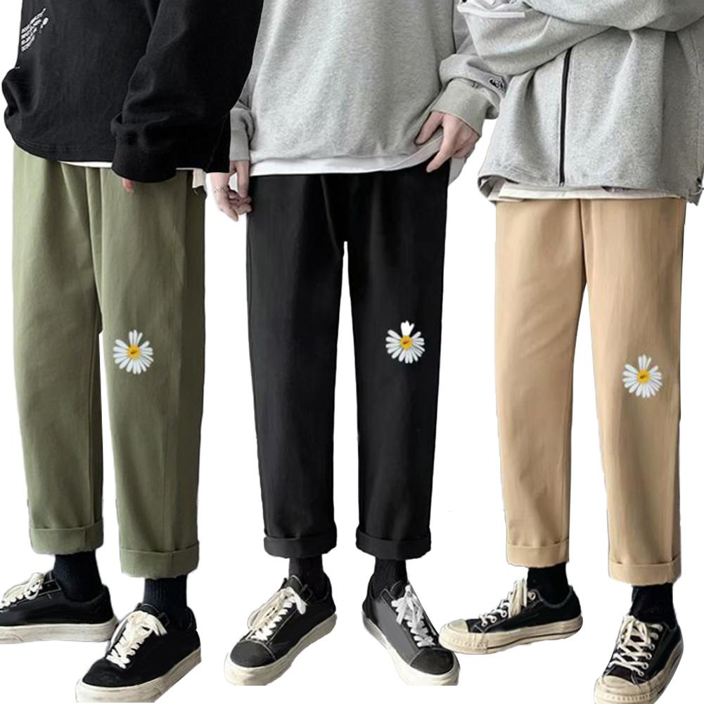 Fashion Men Marguerite Breathable Straight Long Pants Drawstring Ninth Trousers Marguerite Print Comfortable to Wear