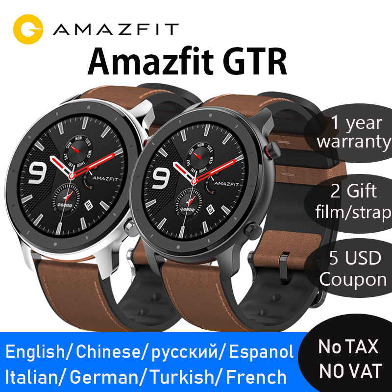 Amazfit Smart-Watch Amoled-Screen Battery-Life Swimming Xiaomi Huami 47mm Global-Version