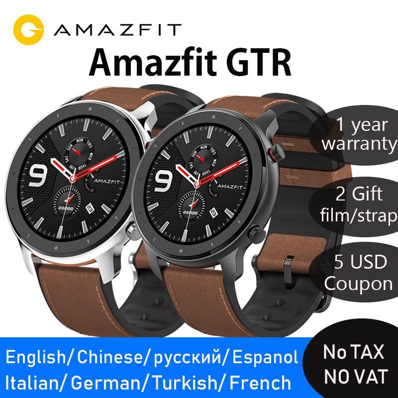 Глобальная версия amazfit gtr 47 мм smart watch активно-матричные осид, Экран 24 дней работы от аккумулятора gps часы 50ATM водонепроницаемый для плавания
