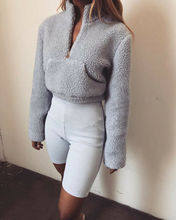 Goocheer Women High Collar Hoodie Turtleneck Front Zipper Thick Warm Sweatshirt New Coat Pocket Fluffy Pullover Tops Hoodies front pocket bicolor pullover hoodie