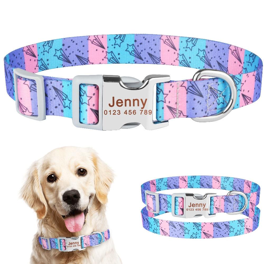 Adjustable Nylon Cool Dog Collar Custom Carved Name Phone Blue Pitbull Personalized Dog Collar Pet Dog Tag Printing Collar