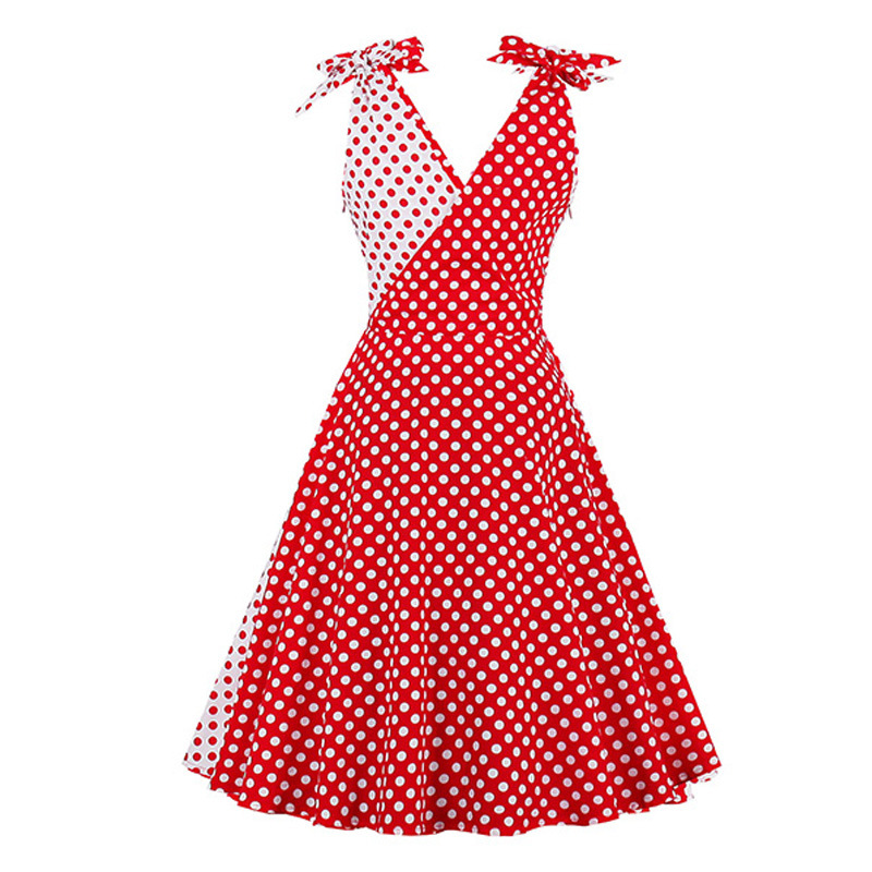 Hot New Style Red And White Polka Dot Joint Of Shoulder Bow Dress 6635 #