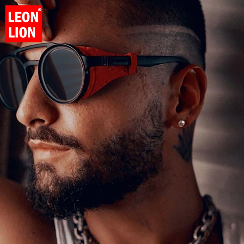 LeonLion Luxury Punk Sunglasses Men Vintage Glasses for Men/Women Luxury Brand Sunglasses Men Punk Retro Lunette Soleil Homme|Men