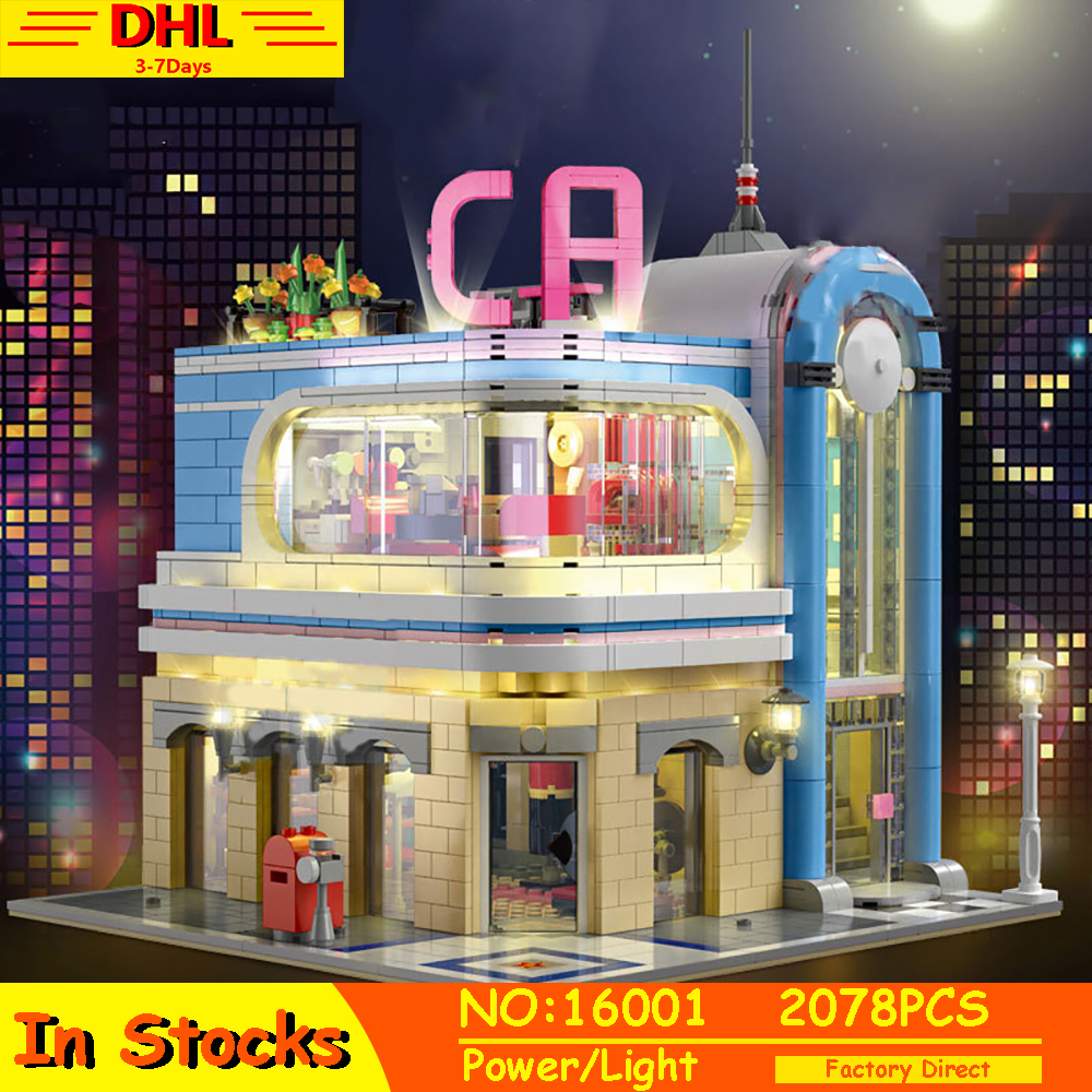 MOULD KING MOC Lepining Creator Downtown Diner California with Led City Street View Model Building Blocks Bricks 16001 10260 Toy image