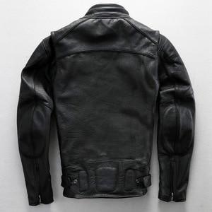 Image 4 - משלוח חינם. בתוספת גודל קלאסי גברים פרה עור מעילים, גברים של אמיתי עור אופנוען. מותג מנוע עור מעיל