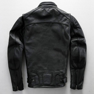 Image 4 - Free shipping.plus size classic men cow leather Jackets,mens genuine Leather biker jacket.Brand motor leather coat