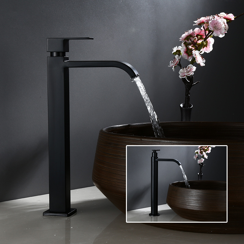 Basin Faucet Single Cold Bathroom Faucet Black Basin Mixer Bathroom Sink Faucet Tall 304 Stainless Steel  Faucet For Cold Water