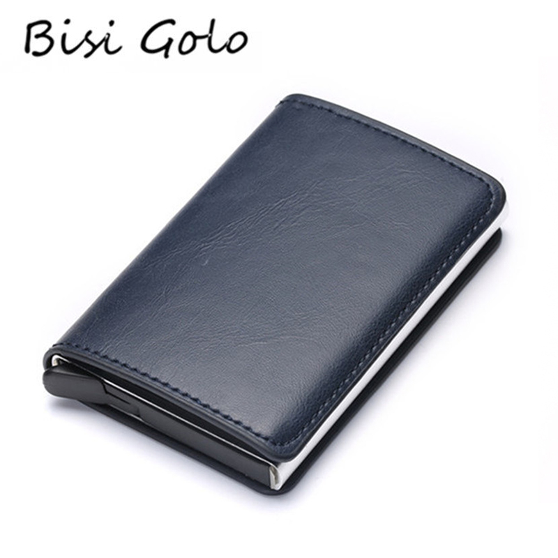 BISI GORO 2019 Credit Card Holder Men And Women Metal RFID Vintage Aluminium Box Crazy Horse PU Leather Fashion Card Wallet image