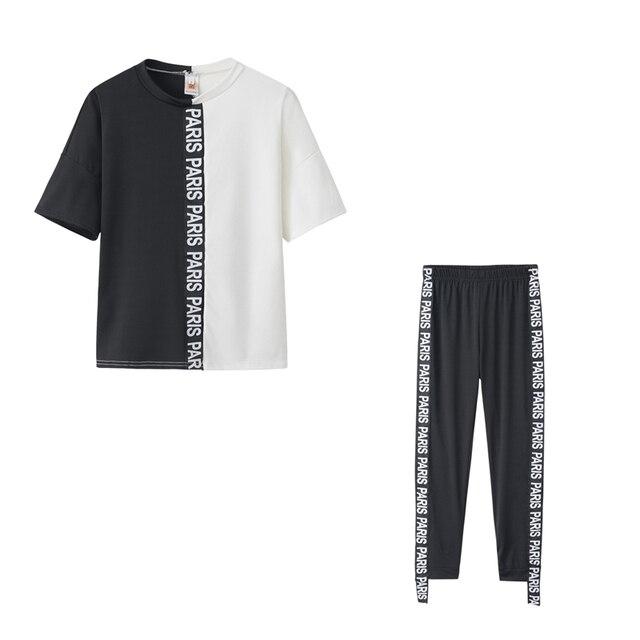 Letter Print Off Shoulder Tracksuit Women's Set Two Piece Sets Short Sleeve Colorblock Top and Pants Suit Summer Long Pants Sets 5