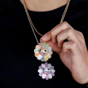 Image 3 - JINAO New Fashion Design MURAKAMI FLOWER Ice Out colorful pendant with 4mm tennis chain Hip Hop Rock Jewelry for man women gift