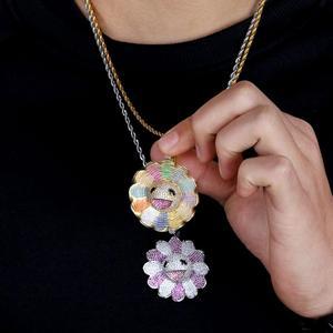 Image 3 - JINAO nouveau Design de mode MURAKAMI fleur glace sur pendentif coloré avec 4mm chaîne de tennis Hip Hop Rock bijoux pour homme femmes cadeau