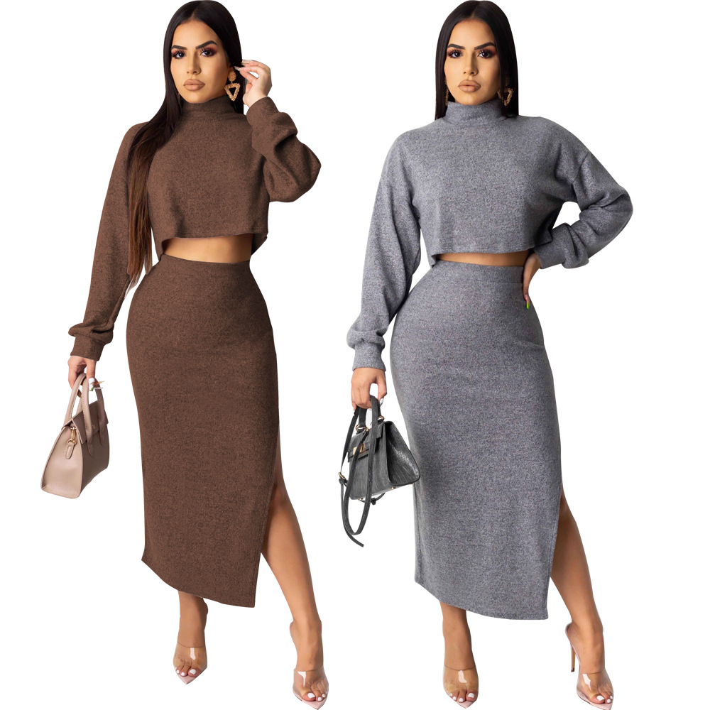 2 Piece Set Casual Knitted Tracksuit Women Turtleneck Top And Split Skirt Winter Suit Elegant Matching Sets Club Outfits