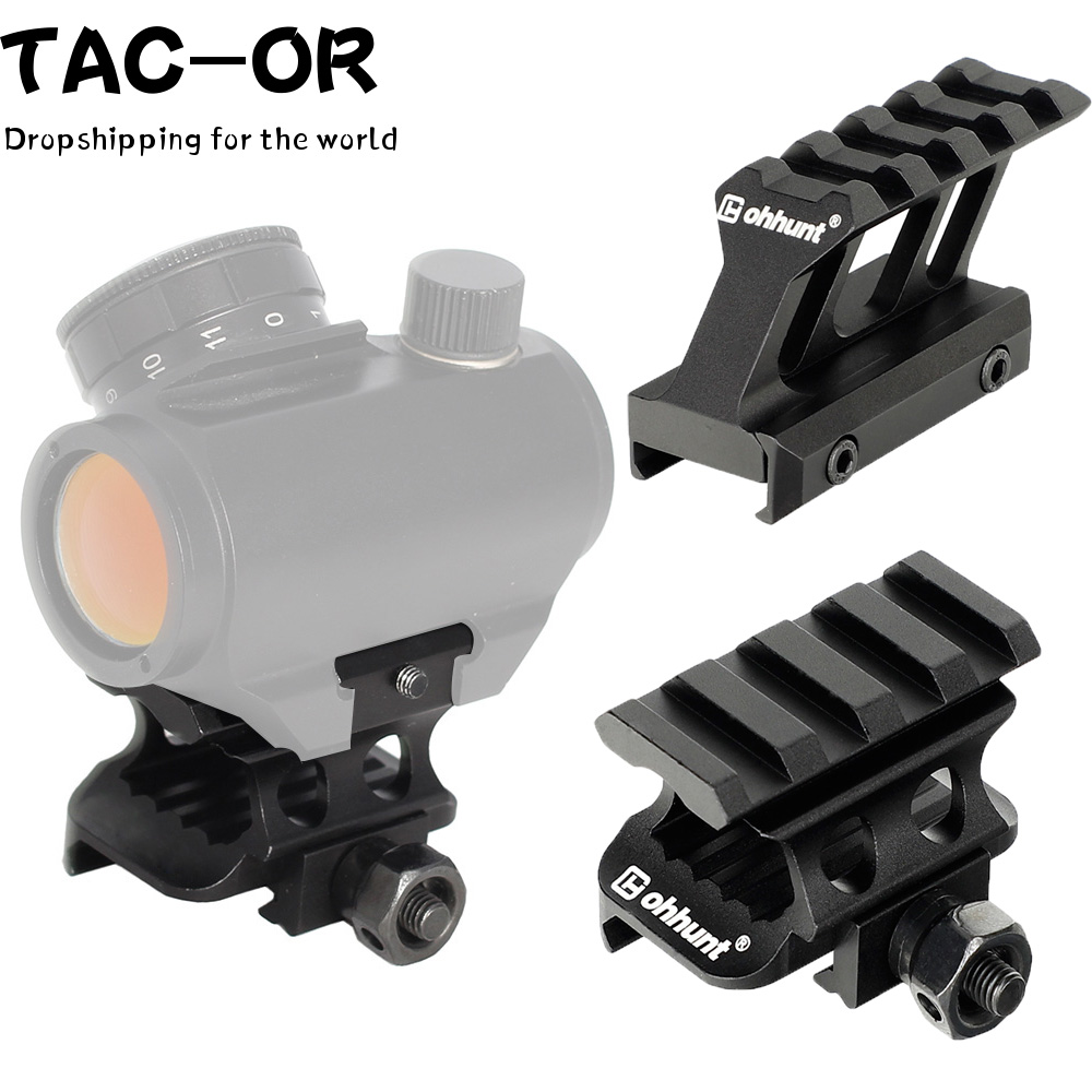 Tactical Raise Sight Scope Mount With Top 4 Slots Picatinny Rail Mount Riser Mount Adapter For Hunting Airsoft Red Dots Scope