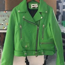 Hohe qualität frauen leder jacke mantel mode outwear greem farbe
