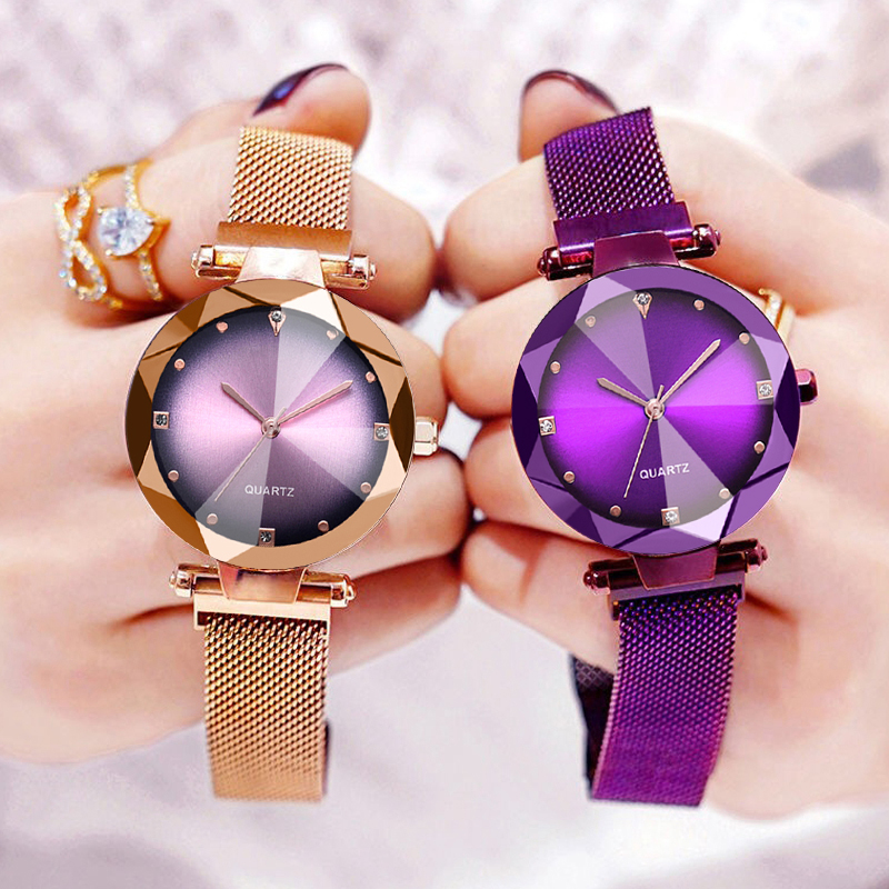 Luxury Magnet Buckle Quartz Watches Women Color Gradient Diamond Women Watch High Quality Fashion Desgin Clock Drop Shipping