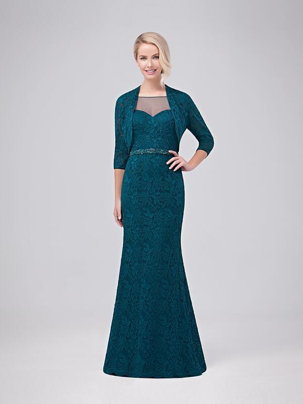 Hunter vert dentelle longue gaine mère de la mariée robes costumes avec vestes taille perlée Train court femmes robe de soirée formelle