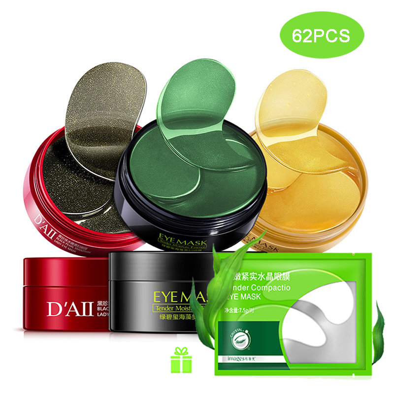 Collagen Eye Patches 62PCS Eyes Patch Mask Anti Wrinkles Dark Circles Bags Ageless Hydrogel Anti-Aging Korean Gel Fast Ship LH